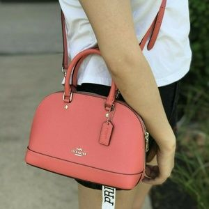 Coach Mini Sierra Leather Satchel in Coral F27591